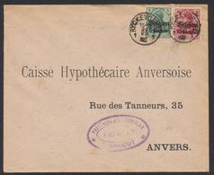 "Guerre 14-18 - OC N°2 Et 3 Sur Lettre Obl Simple Cercle ""Ryckevorsel 1"" + Censure Turnhout Vers Anvers. - Guerre 14-18"