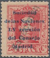 """Thematik: Politik / Politics: 1929, Spain. 25 Centimos, Carmine, Overprinted """"Sociedad De Las Nacion - Sonstige"""
