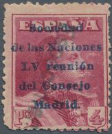 """Thematik: Politik / Politics: 1929, Spain. 4 Pesetas, Lake, Overprinted """"Sociedad De Las Naciones LV - Sonstige"""