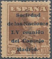 """Thematik: Politik / Politics: 1929, Spain. 10 Pesetas, Brown, Overprinted """"Sociedad De Las Naciones - Sonstige"""