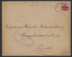 """Guerre 14-18 - OC N°3 Sur Lettre Obl Simple Cercle """"Wolverthem"""" + Censure De Bruxelles Vers Leuven. - Guerre 14-18"""