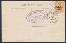 """Guerre 14-18 - OC N°13 Sur CP Vue Obl Simple Cercle """"Marchienne-au-pont"""" + Cencure De Charleroi Vers Ciney - Guerre 14-18"""