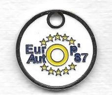 Jeton De Caddie  Ville, Automobile  EUROP  AUTO  87  Verso  GARAGE  LEYCURAS  à  FEYTIAT  ( 87 ) - Jetons De Caddies