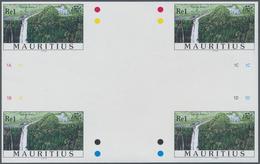 Thematik: Wasserfälle / Waterfalls: 1998, Mauritius. IMPERFORATE Cross Gutter Pair For The 1re Value - Briefmarken