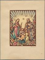 "Thematik: Weihnachten / Christmas: 1950s (approx), Austria. Artist's Drawing Shwoing ""The Holy Famil - Weihnachten"