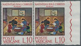 """Thematik: Weihnachten / Christmas: 1964, Vatikan, 10 L """"Christmas"""", Horizontal Pair, Right Stamp Wit - Weihnachten"""