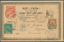 Äthiopien: 1899: Ethiopian Postal Stationery Card ½g. (cancelled 28.7.98) Used As Registered Postcar - Äthiopien