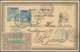 """Äthiopien: 1902, 1 Guerche Ultramarine Overprinted At Top """"Ethiopie"""" Postal Stationery Card With Add - Äthiopien"""