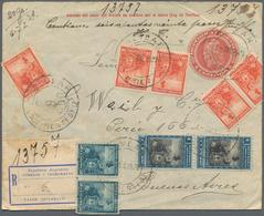 Argentinien - Ganzsachen: 1907, Envelope 5 Cts. Scarlet As Insured (V-mail) Cover: Uprated On Both S - Ganzsachen