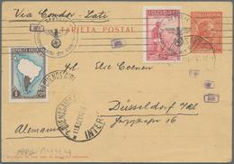 "Argentinien - Ganzsachen: 1940, 12 C Red ""Mitre"" Postal Stationery Card, Uprated With 25 C Carmine A - Ganzsachen"