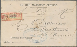 "Victoria - Destinationen: 1894, Unfranked Official Service Cover ""ON HER MAJESTY'S SERVICE"" Sent Reg - 1850-1912 Victoria"