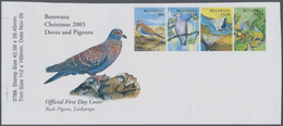 Botswana: 2005, Pigeons, IMPERFORATE Proof Se-tenant Strip Of Four With Pictured Selvedge, Mint Neve - Botswana (1966-...)