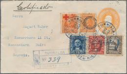 "Costa Rica: 1923, 5 C Yellow ""Colon"" Pse, Uprated With 10 C Blue Definitive, 5 C + 5 C Orange ""red C - Costa Rica"