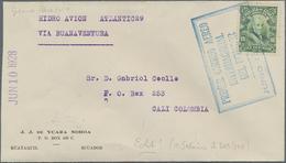 """Ecuador: 1928, 10 C Green On Letter """"Experimental Flight Atlantic29"""" From Guayaquil Via Buanaventura - Ecuador"""