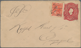 "Ecuador - Ganzsachen: 1892, Envelope 5 Cts. Uprated 5 Cts. With Handwritten Marking ""Cattinar Junio - Ecuador"