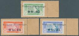 "Elfenbeinküste: 1916, Postage Stamps 5 C., 10 C. And 25 C. With Overprint ""Valeur D'échange"" And Val - Côte D'Ivoire (1960-...)"