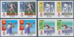 Fiji-Inseln: 2008, Summer Olympics Beijing Complete Set Of Four (running, Swimming, Judo And Shootin - Fiji (...-1970)