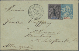 Französisch-Guinea: 1892 Uprated Postal Stationery Envelope 1895 Sent From Conakry To Hamburg German - Zonder Classificatie