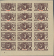 Französisch-Guinea: 1906/1907, Definitives, 2c. Lilac-brown/red, Imperforate Essay, Marginal Block O - Frans Guinee (1892-1944)