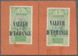 """Französisch-Guinea: 1913 (ca.), 5c. With Overprint """"VALEUR D'ECHANGE"""", Two Copies On Piece. Rare! ÷ - Zonder Classificatie"""