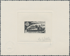 Französische Gebiete In Der Antarktis: 1976, Ships, All Three Values As Epreuve D'artiste In Black, - Französische Süd- Und Antarktisgebiete (TAAF)