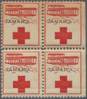 Jamaica: 1915/1917, Nicht-ausgegebene Rot-Kreuz-Marke Im Postfrischen SR-4er-Block, Type II: Mit Sch - Jamaica (1962-...)