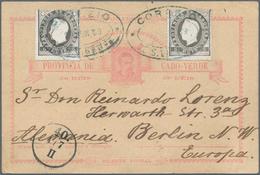"Kap Verde: 1889, Card 20 R. Uprated 5 . (2) Tied Oval ""CORREOS DE S. VICENTE 16 JUN 89"" To Berlin/Ge - Kaapverdische Eilanden"