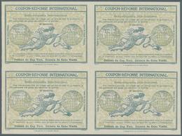"Kap Verde: Design ""Rome"" 1906 International Reply Coupon As Block Of Four 10 C. Cabo Verde. This Blo - Kap Verde"