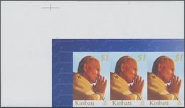 Kiribati (Gilbert-Inseln): 2005, Death Of Pope John Paul II. $1 In A Horizontal IMPERFORATE Strip Of - Kiribati (1979-...)