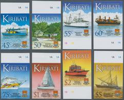 Kiribati (Gilbert-Inseln): 2013, Definitive Issue 'Ships' Complete IMPERFORATE Set Of 16 From Upper - Kiribati (1979-...)
