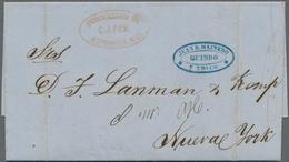 Kolumbien: 1859, QUIBDO (State Canca) Complete Folded Letter To New York Forwardet By J.B. Mainero A - Kolumbien