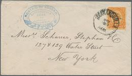 """Kolumbien: 1884/1886, Group Of 4 Covers, Each With Single Franking 10 C Orange On Yellow """"coat Of Ar - Kolumbien"""