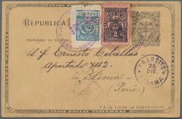 Kolumbien: 1902, 2 C Postal Stationery Card, Uprated With Cartagena Provisional Stamp 1 C Blue, Roul - Kolumbien