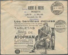 Kolumbien: 1929, Advertising Postal Stationery Envelope (faults) 4 C Blue With Additional Franking ( - Kolumbien