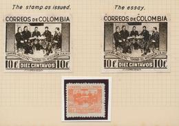 """Kolumbien: 1942, 10 C """"Wisconsin-contract"""" ESSAY Unused With False Inscription """"2.XI."""" Instead Of """"2 - Kolumbien"""