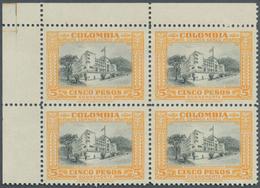 Kolumbien: 1951, Country Scenes 5p. Orange/grey Block/4 From Upper Left Corner WITHOUT Opt. And UNIS - Kolumbien