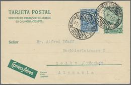 Kolumbien - Ganzsachen: 1927, 10 Cent. Stationery Card Uprated With 4 Centavos From BOGOTA * SERVICI - Kolumbien