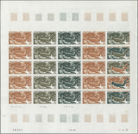 """Komoren: 1972. Complete Issue """"Underwater Spear-Fishing"""" (1 Value) In 2 Different Color Proof Sheets - Komoren (1975-...)"""
