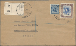 "Libyen: 1951, Cyrenaica Bilingual ""LIBYA"" Overprinted 50 M. Brown And Ultramarine And 20 M. Blue On - Libyen"