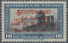 """Panama: 1953, FLUGPOST, Sehr Seltener Fehldruck Des Aufdrucks Des 4-zeiligen Roten Überdrucks """"CENTE - Panama"""