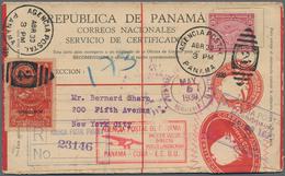 Panama - Ganzsachen: 1930, Registered Envelope 10c. Red Uprated By Lindbergh Overprint 2c. Carmine A - Panama