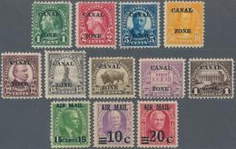 """Panama-Kanalzone: 1924-26 Short Set Of Nine Definitives Optd. """"CANAL/ZONE"""" Including 1c., 2c., 5c., - Panama"""