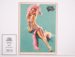 Pin-up Girl By Earl Moran, 'Fine Feathers' - Calendar Original Print - Printed By Haines - 17,5 X 23,5 Cm - Other