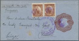 """El Salvador - Ganzsachen: 1894, Wrapper 2 C. Brown Uprated 1 C. Brown (pair) Canc. Duplex """"SANTA ANA - El Salvador"""