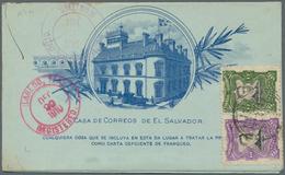 El Salvador - Ganzsachen: 1903, Stationery Double Letter-card 5 C Blue Total IMPERFORATED Uprated 10 - El Salvador
