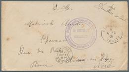 Tahiti: 1919. Stampless Military Mail Envelope (minimal Toned,stains) Cancelled By Papeete Tahiti Da - Tahiti