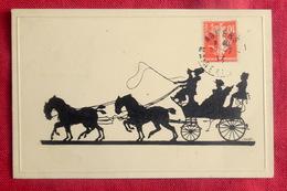 CPA 1913 SILHOUETTES HOMMES FEMMES COCHER CHEVAUX ATTELAGE CARRIOLE - TIMBRE Et CACHET ANGERS MAINE ET LOIRE - Silhouettes