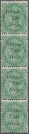 Britisch-Ostafrika Und Uganda: 1895-96 QV 2a6p. Yellow-green Vertical Strip Of Four, Overprint Varie - Kenya, Uganda & Tanganyika