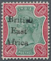 "Britisch-Ostafrika Und Uganda: 1895-96 QV 1r. Green & Aniline Carmine, Showing Ovpt. Variety ""Br1tis - Kenya, Uganda & Tanganyika"