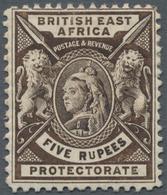 "Britisch-Ostafrika Und Uganda: 1896-1901 QV 5r. Sepia, Variety ""Thin U In RUPEES"", Mounted Mint, Fre - Kenya, Uganda & Tanganyika"